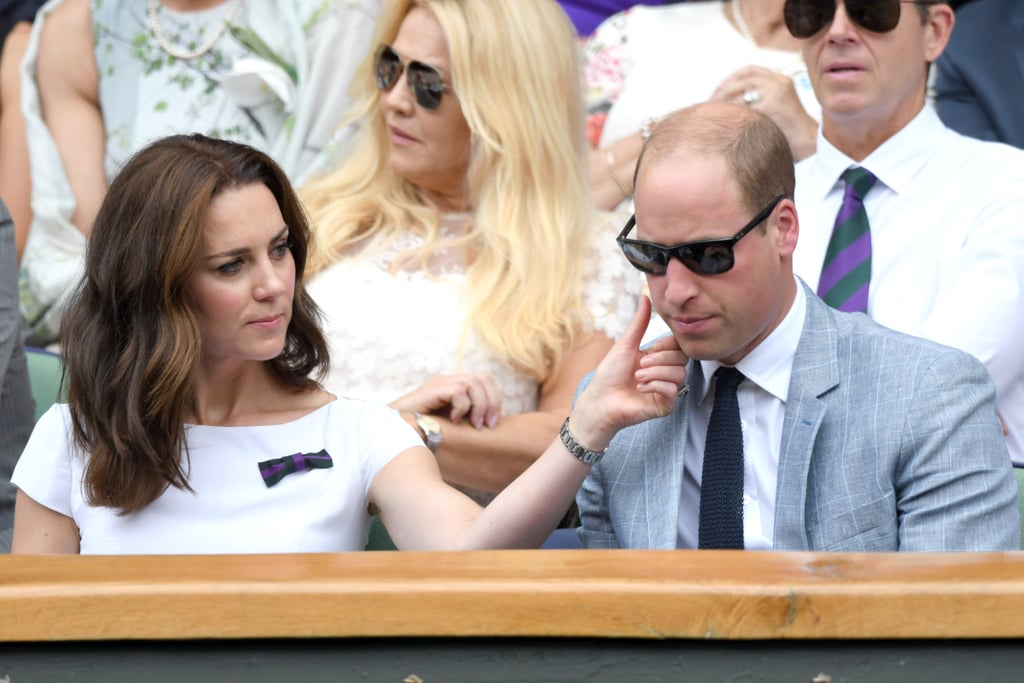 "Prince William and Kate Middleton don't show PDA very often, but when they do, it's superadorable. The royal couple shared a tender moment at Wimbledon on Sunday when they watched Roger Federer take on Marin Cilic from the stands. Aside from sharing a few laughs as Kate tried to manage her hair in the wind, she also sweetly removed a speck from her husband's cheek. Even though there isn't any formal rule that discourages them from showing PDA, the two usually remain professional with their outings as they serve as ""working representatives of the British Monarchy."" But what better place to show their ""love"" than at a tennis event?"
