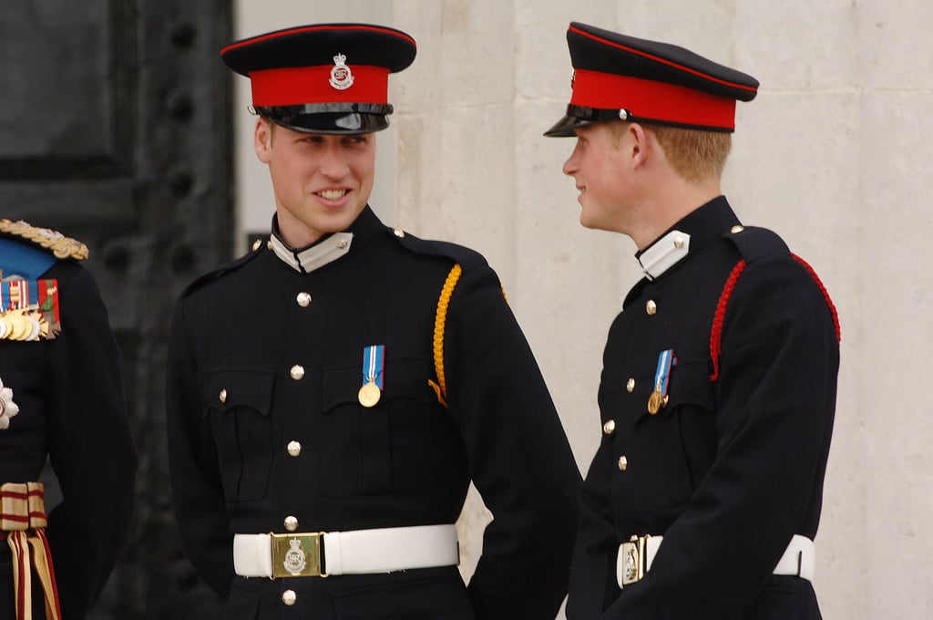 Will gave his little brother a cute look when Prince Harry was commissioned as a Second Lieutenant at Sandhurst Military Academy in April 2006.