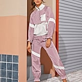 Shein Contrast Panel Drawstring Windbreaker Jacket & Sweatpants