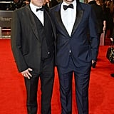 David O. Russell and Bradley Cooper at the 2014 BAFTA Awards.