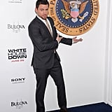 Channing Tatum showed off the presidential seal on the blue carpet in NYC while premiering White House Down in June.