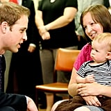 Prince William spent time with a baby boy while visiting the Wellington Hospital's children's ward in New Zealand back in January 2010.