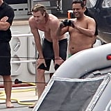 Shirtless Chris Hemsworth checked out the action.