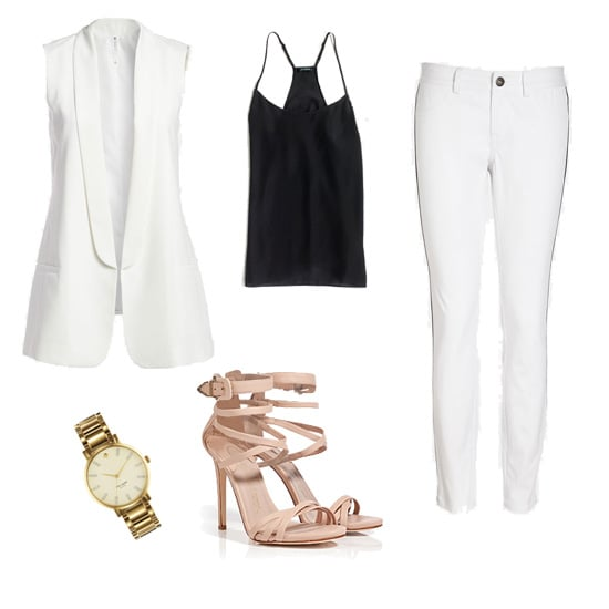 White on white with a dash of black, nude, and gold — you're looking at a megafresh Spring palette. Plus, the tuxedo-style vest (it also comes in hot pink!) will polish everything up in an instant.  Get the look:  Mural white tuxedo vest ($78) BB Dakota tuxedo jeans ($78) J.Crew black camisole ($35, originally $50) Le Silla nude strappy sandals ($905) Kate Spade gold watch ($250)