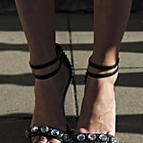 This LFW goer dared to bare her legs (and toes!) in a pair of gorgeous embellished ankle-strap sandals.