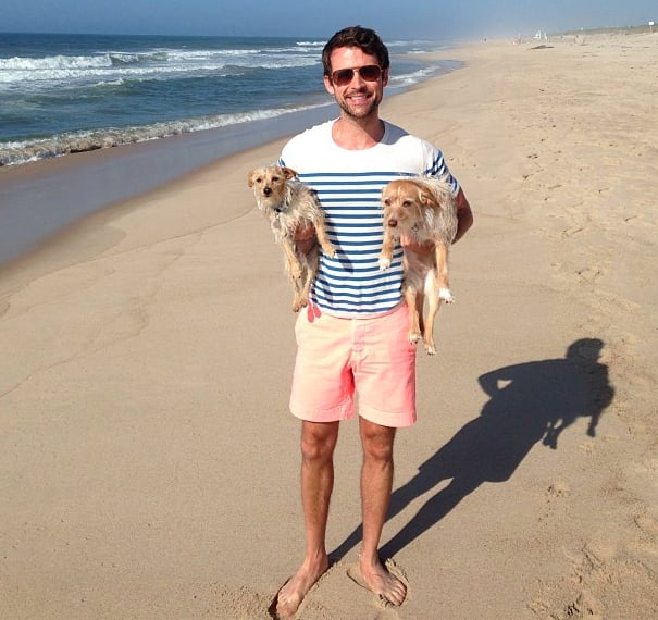 Brad Goreski posed with his pups during a morning walk on the beach.  Instagram user mrbradgoreski