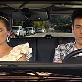 Their most over-the-top couple moment? When they drive off into the sunset after she abandons her own wedding. Shades of The Graduate!