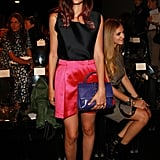 Eleonora Carisi made a bright statement with her pink satin miniskirt at Alberta Ferretti.
