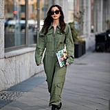 For a one and done look, slip into a green jumpsuit.
