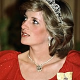 The Spencer family tiara, Prince of Wales feathers pendant, and Emir of Qatar earrings