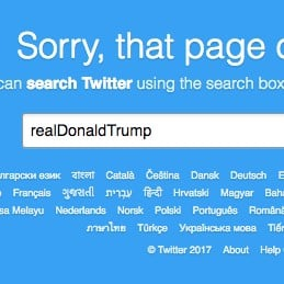 Trump Twitter Account Deleted or Shut Down on Nov. 2, 2017