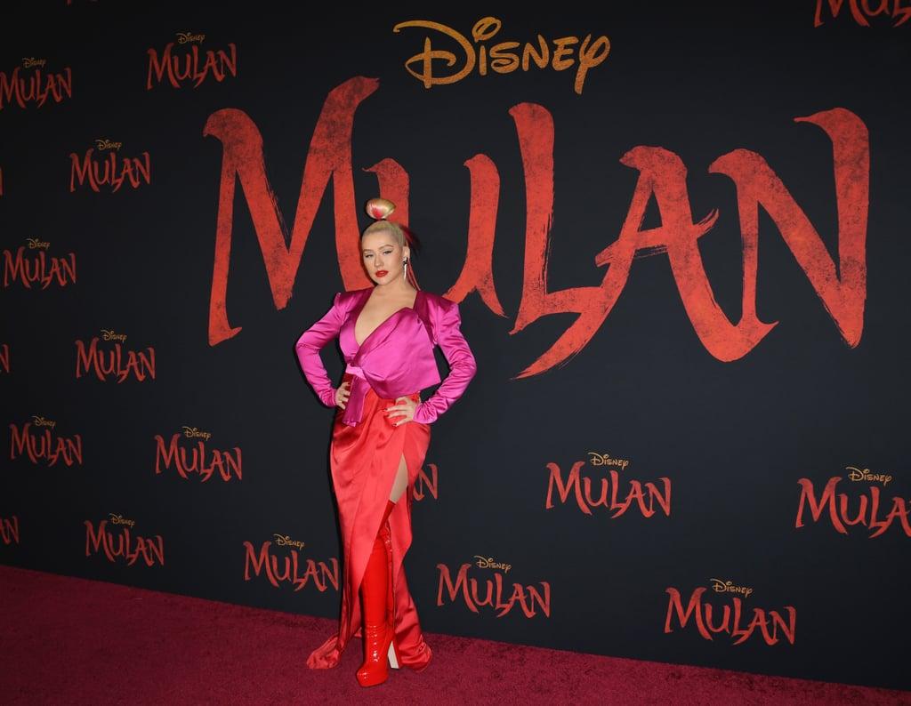 كريستينا أغيليرا في العرض العالمي الأول لفيلم مولان في لوس أنجلوس