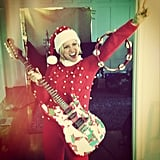 Brittany Snow rocked out in a festive Christmas outfit. Source: Instagram user brittsnowhuh