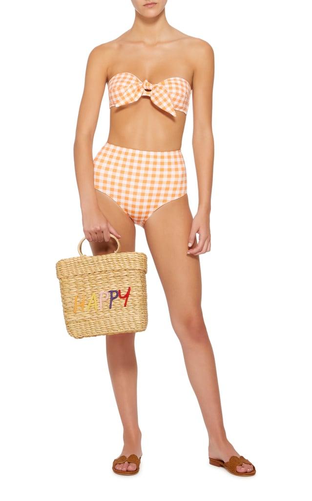 Ephemera Gingham Tie Front Bandeau Bikini