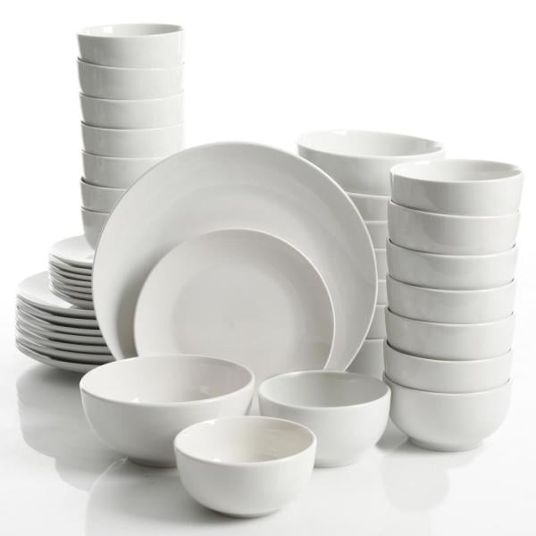 Gourmet Expressions Camrose 40-Piece White Round Dinnerware Set