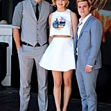 Hunger Games costars Liam Hemsworth, Jennifer Lawrence, and Josh Hutcherson reunited on Saturday.
