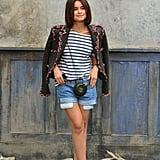 Miroslava Duma gave denim shorts a high-fashion take at the Paris Chanel Haute Couture runway show.