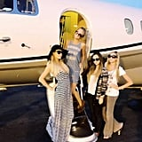 Paris Hilton hopped on a plane with friends after a trip to Las Vegas.  Source: Twitter User ParisHilton