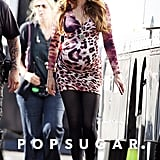 Sofia Vergara wore a leopard-print dress on the set of Modern Family in LA.