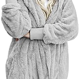 Dokotoo Fuzzy Fleece Open-Front Hooded Cardigan in Gray