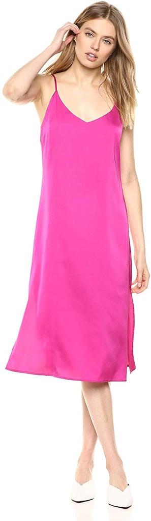 The Drop Ana Silky V-Neck Midi Slip Dress