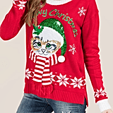 """Meowy Christmas"" Light-Up Sweater"