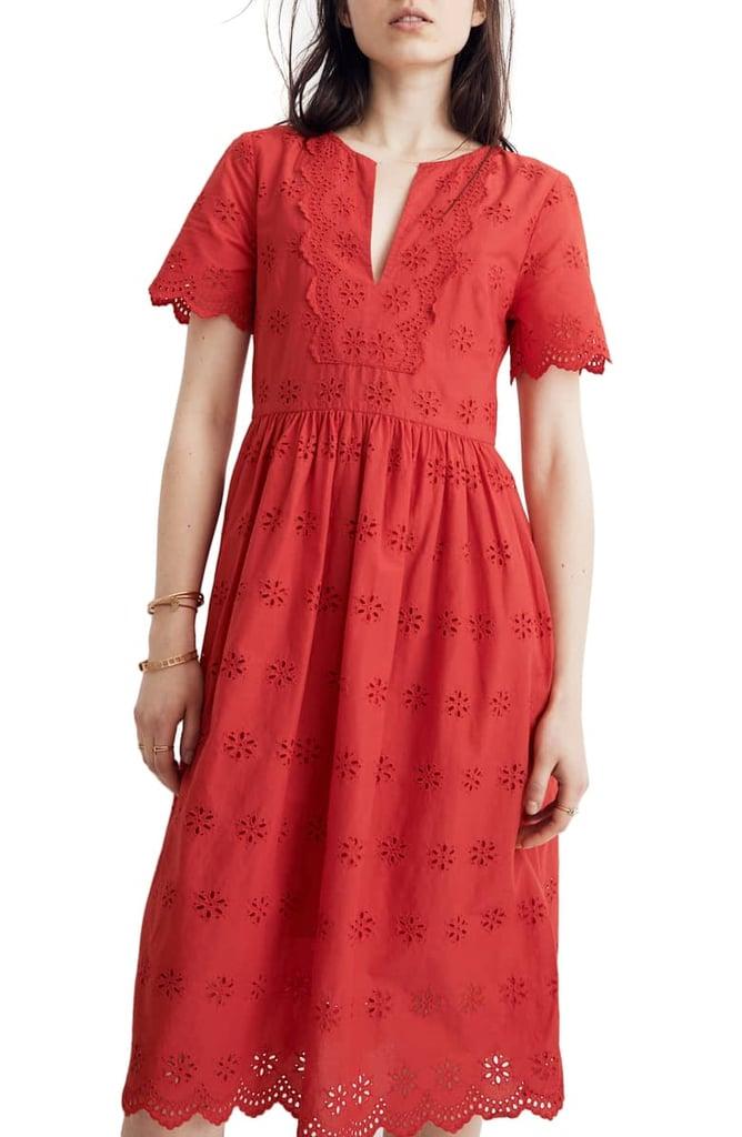 78cae068b17 Madewell Scallop Eyelet Midi Dress