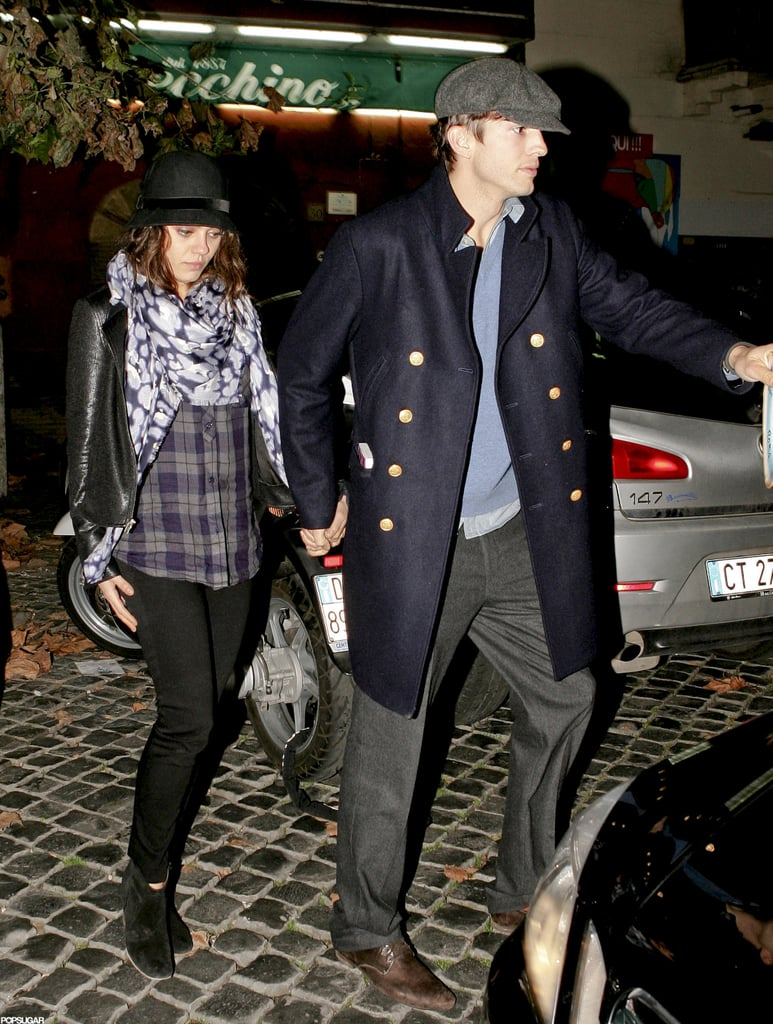 Ashton Kutcher and Mila Kunis went out to dinner in Rome last night. They ventured to the Trastevere neighborhood for a meal at Checchino Dal 1887 and seemed to have the whole place to themselves. Ashton even left with a decorative plate commemorating their visit. Ashton and Mila are enjoying an extended getaway together in Italy, where she's shooting The Third Person with director Paul Haggis and a long list of costars that includes Liam Neeson, Olivia Wilde, and James Franco. Ashton ventured to Europe to spend time with Mila when she's not on set, and they've been spotted sampling many of the city's traditional restaurants together.