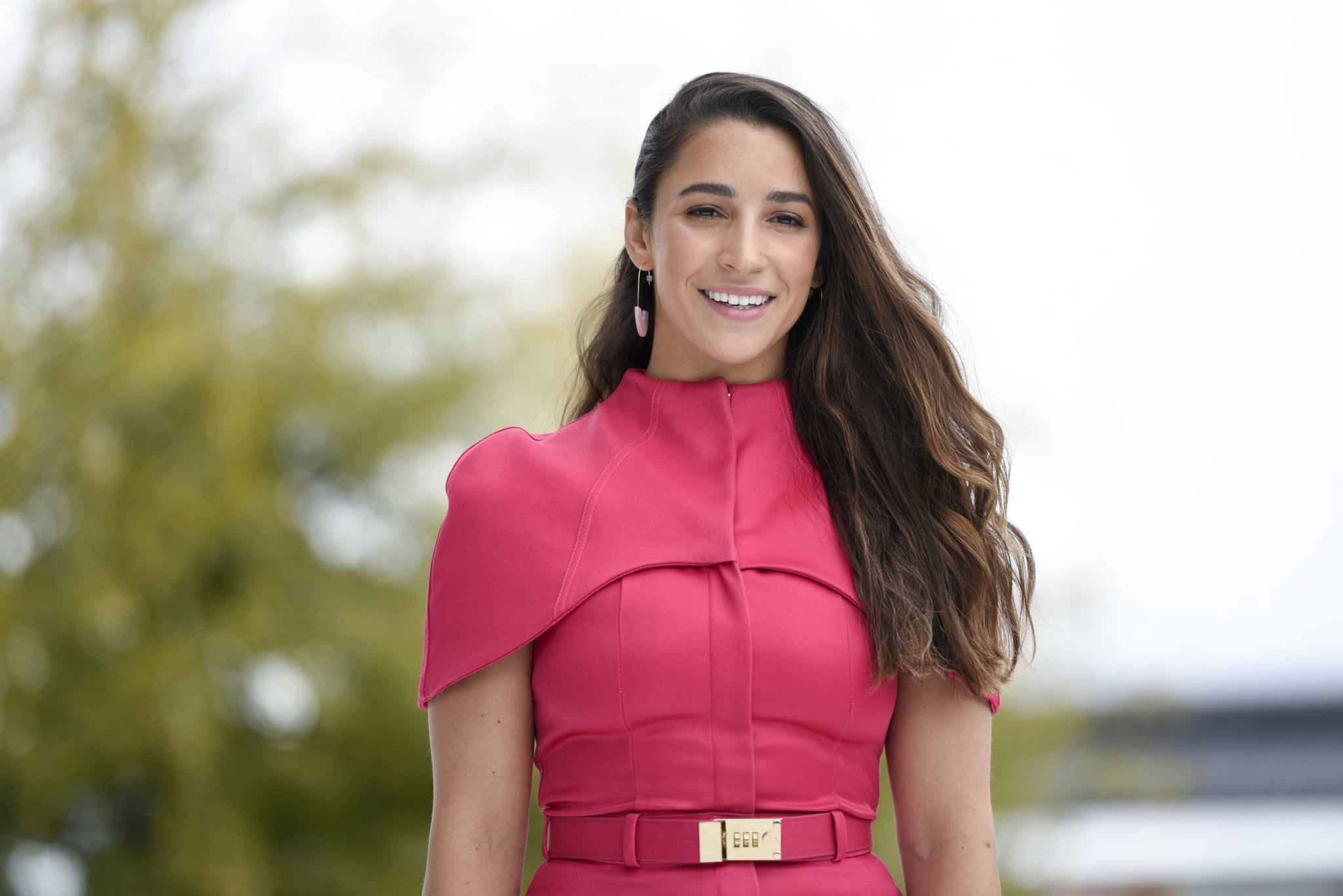 CUPERTINO, CA - MARCH 25: Olympian gymnast Aly Raisman poses for a photo during an Apple product launch event at the Steve Jobs Theatre at Apple Park on March 25, 2019 in Cupertino, California. Apple announced the launch of it's new video streaming service, unveiled a premium subscription tier to its News app, and announced  it would release its own credit card, called Apple Card.  (Photo by Michael Short/Getty Images)