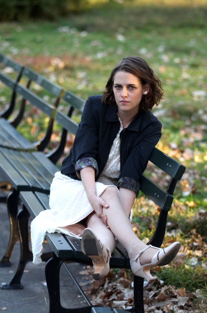 She also posed on a park bench, this time wearing a jacket with sequined cuffs.