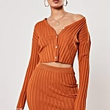 Missguided Rust Co-Ord Rib Knitted Miniskirt