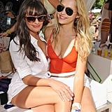 Lea had some fun in the sun with Teresa Palmer at a Coachella party in April 2012.