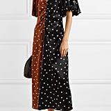 Lee Mathews Talulah Ruched Polka-Dot Silk-Satin Midi Dress