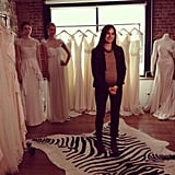 Our Style Director Noria Morales filming a segment for FabTV during the bridal presentation.