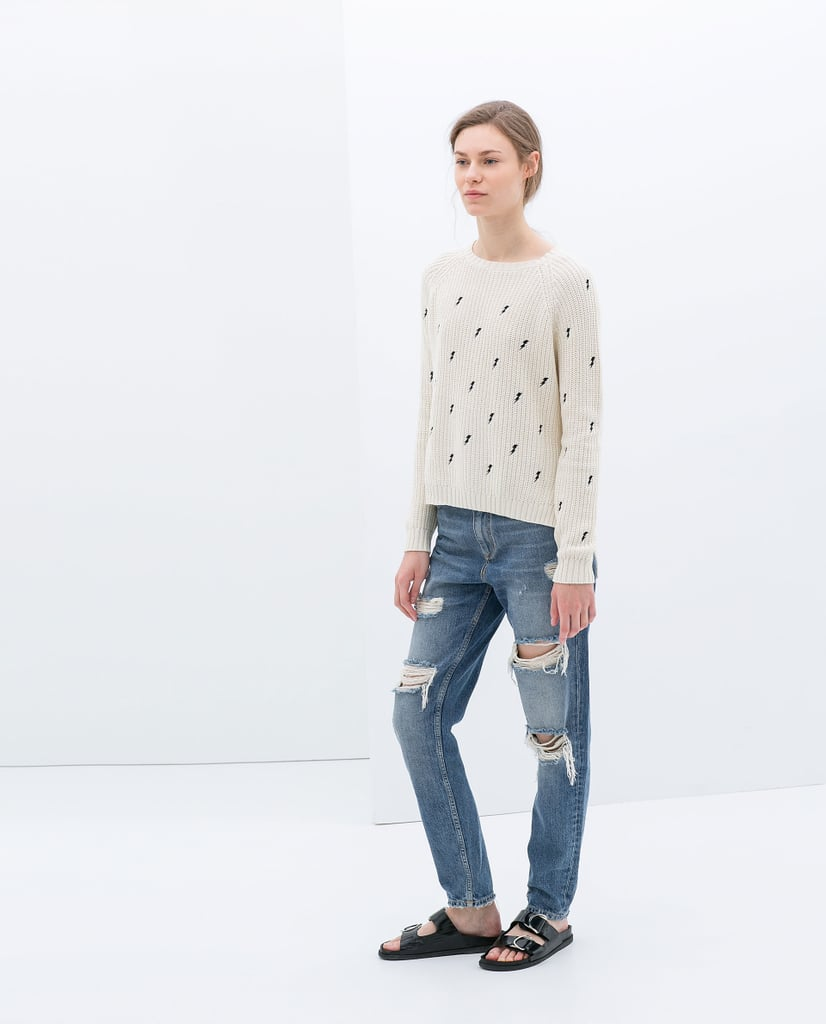 Zara sweater embroidered with lightning bolts ($60)