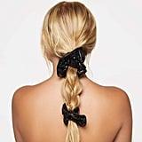 Justine Marjan x Kitsch Plain Patent Scrunchie 2-Piece Set in Black