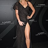 Alexandra Richards is the latest style setter to try out the sexy thigh-high slit trend.