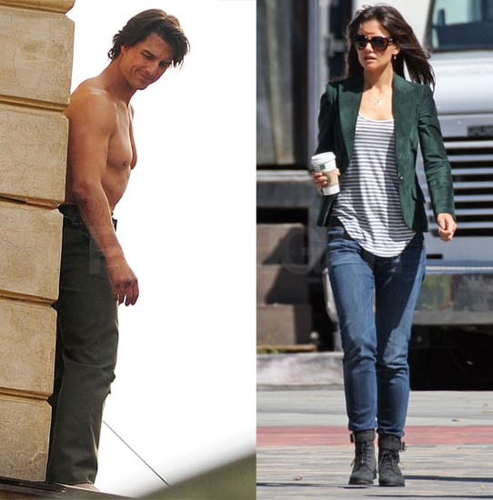 Pictures of Tom Cruise Shirtless Doing A Stunt For Mission Impossible 4 And Katie Holmes In LA