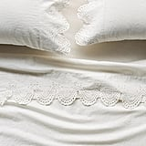 Anthropologie Embroidered Linen Caroline Sheet Set
