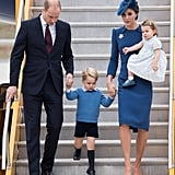William helped George down the steps as the royal family began their royal tour of Canada in 2016.