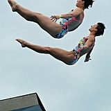 Germany's bronze medalists Nora Subschinski and Christin Steuer compete in the 10-meter synchronized platform diving event in the FINA World Championships in Shanghai, China.