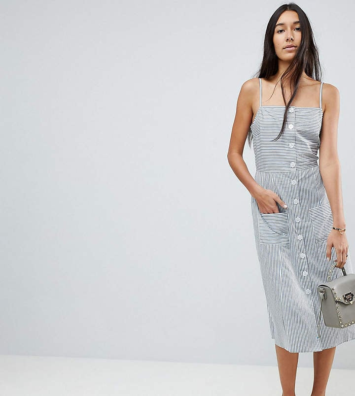 ASOS Tall Stripe Button Through Linen Midi Sundress