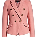 Double Breasted Wool Blend Blazer