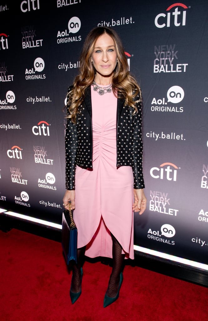 Leave it to Carrie Bradshaw Sarah Jessica Parker to absolutely kill it in a sheer-sleeved pastel pink Giles high-low dress and studded Saint Laurent jacket in November 2013. We won't even get into those luxe forest-green pumps and sapphire chain-strap bag — we're already bowing down. Where to Wear: A stint of karaoke. This outfit was made for the stage.