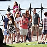 The whole cast shot scenes around Walsh Bay in Sydney on Feb. 20.