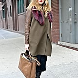 It's not just about the fur, but also the color contrasts at work — burgundy and olive contrasts provided a rich finish.
