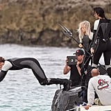 Sam Claflin on the set of Catching Fire.