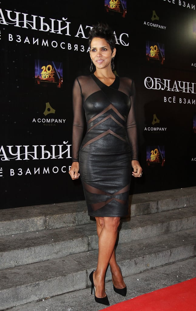 We'd be more surprised if Halle Berry didn't look better in a leather dress than women half her age — she wore this Catherine Malandrino sheer and leather panel on the red carpet recently and, understandably, dropped lots of jaws.