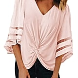 FARYSAYS Ruched Twist Tops Casual Blouse