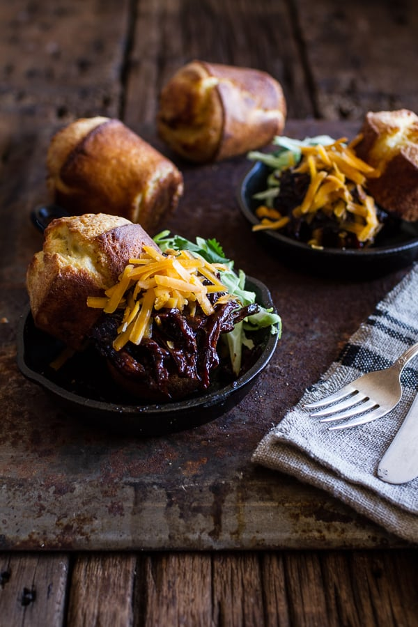 Slow-Cooker Barbecue Beer Pulled Chicken With Cheddar Corn Popovers
